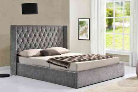 Groupon Goods Global GmbH - Ottoman Diamante Button Bed Frame with Mattress Include Free Delivery - Save 45%