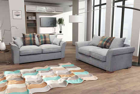 FurnitureStopUK - Two seater Hugo plush fabric sofa with scatter back cushions - Save 66%