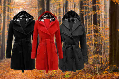 Flirty Wardrobe - Hooded trench coat choose from three colours - Save 72%