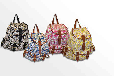 Pearl Info - Floral rucksack choose black, blue, pink or yellow - Save 72%