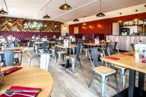 Mollys Bar & Restaurant - Three Courses & Wine for 2 with Coastal Views - Save 55%
