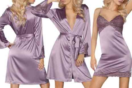 Groupon Goods Global GmbH - Livia Corsetti Orchid Lingerie Collection Chemise and Thong Set or Dressing Gown - Save 57%