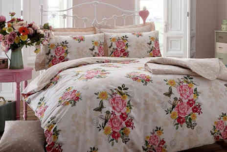 Ckent - King size floral memories duvet cover & pillowcase set available in cream, mint or teal - Save 47%