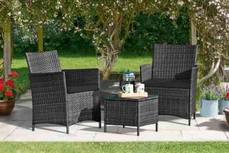 Groupon Goods Global GmbH - Three Piece Rattan Furniture Set in Choice of Colour With Free Delivery - Save 71%