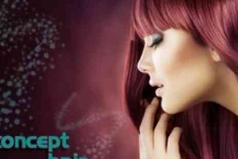 Koncept Hair Design - Half Head Highlights or Full Head Colour With Cut, Conditioning Treatment, and Head Massage - Save 72%
