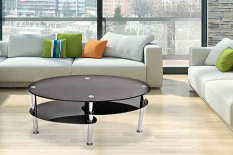 Home Empire - Black glass two tier coffee table - Save 86%