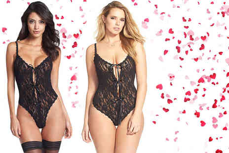 Who Runs the World - Black lace open gusset teddy choose from five sizes - Save 71%