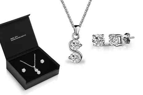 Groupon Goods Global GmbH - Solitaire Swirl Necklace and Earrings Set with Crystals from Swarovski - Save 78%