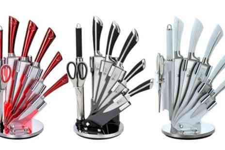 Groupon Goods Global GmbH - Eight Piece Stainless Steel Knife Set With Stand - Save 77%