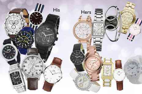Wowcher Direct - Mystery watch for him or her including Michael Kors, Armani, Karen Millen, Hugo Boss, Calvin Klein, Moon, Marc Jacobs and more - Save 0%