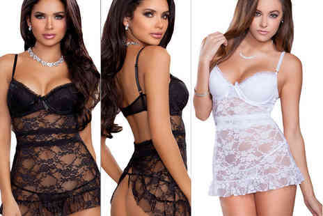 Who Runs the World - Lace apron chemise choose from black or white - Save 71%