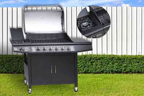 Evre - Seven burner Fireplus gas BBQ choose from black and silver - Save 75%