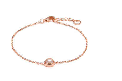 The Gemseller - Pearl and silver bracelet choose from rose or white gold plated - Save 75%