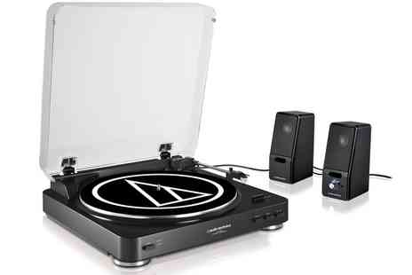 Groupon Goods Global GmbH - Audio Technica AT LP60BK Turntable with SP121BK Speakers Include Free Delivery - Save 34%