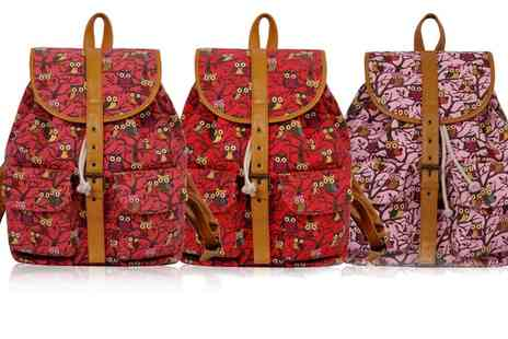 Groupon Goods Global GmbH - Pearl Fashion Owl Print Rucksack Bag - Save 58%