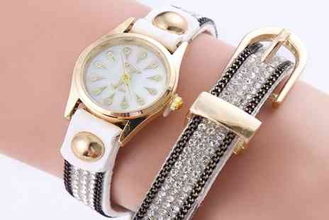 Groupon Goods Global GmbH - Danielle Buckle Wrap Watches with Crystals from Swarovski - Save 53%