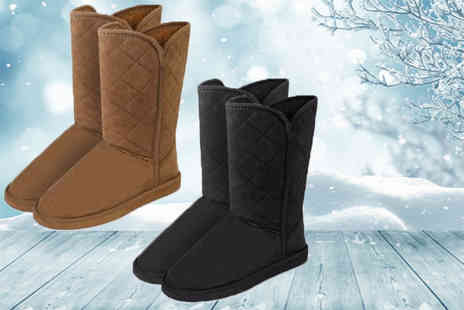 Ckent - Womens faux fur boots in black or tan - Save 56%