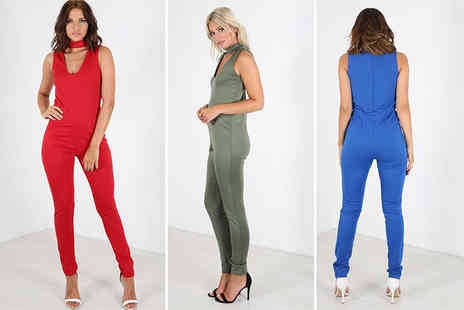 Bejealous - Ladies choker v neck jumpsuit choose from six colours - Save 62%