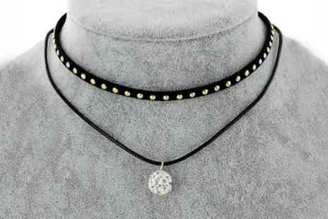 Groupon Goods Global GmbH - One or Two Double Layer Choker Necklaces with Crystals from Swarovski - Save 73%
