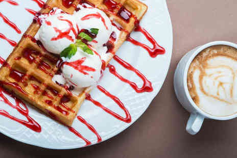 Oddonos Gelati - Belgium waffle with two scoops of Italian gelato, toppings and hot drink for two - Save 51%