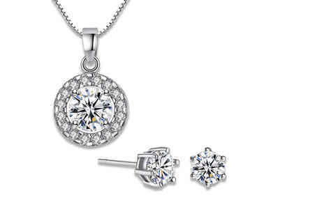 Your Ideal Gift - Crystal solitaire pendant made with cubic zirconia or include matching stud earrings - Save 90%