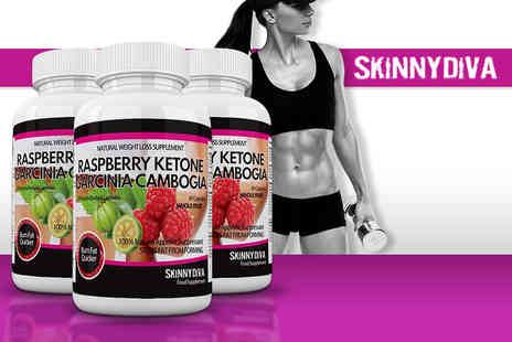Skinny Diva - Three month supply of raspberry ketone and garcinia cambogia capsules - Save 81%