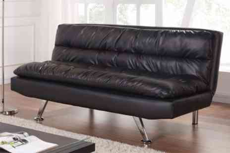Groupon Goods Global GmbH - Black Faux Leather Sofa Bed With Free Delivery - Save 48%