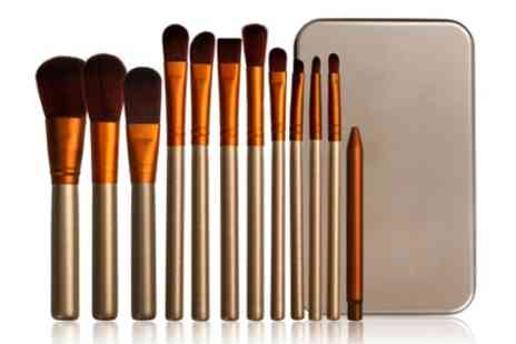 Groupon Goods Global GmbH - 12 Piece Gold and White Make up Brush Set with Metal Case - Save 80%