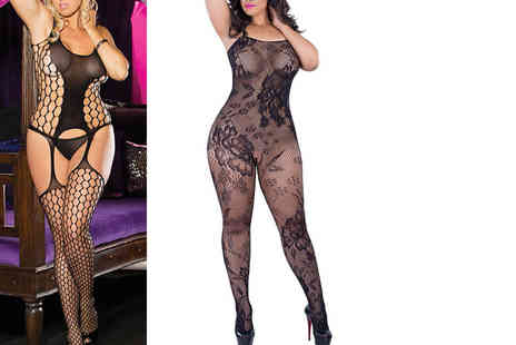Who Runs the World - Lace or fishnet plus size body stocking - Save 70%