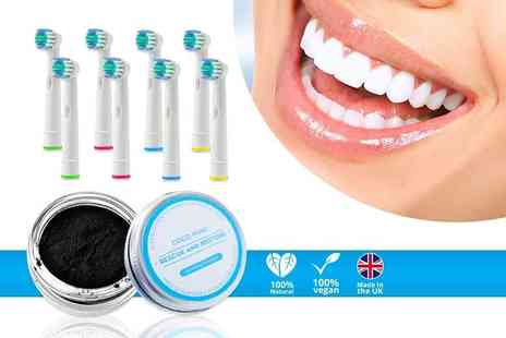 Home Lounge Shop - Eight Oral B compatible toothbrush heads and activated charcoal whitening powder - Save 83%