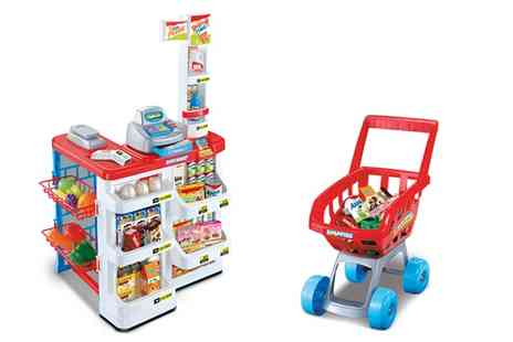 Groupon Goods Global GmbH - Childrens Supermarket and Shopping Trolley Toy Set With Free Delivery - Save 40%