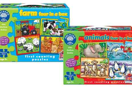 Groupon Goods Global GmbH - Animals or Farm Four in a Box First Counting Puzzles or Both - Save 13%