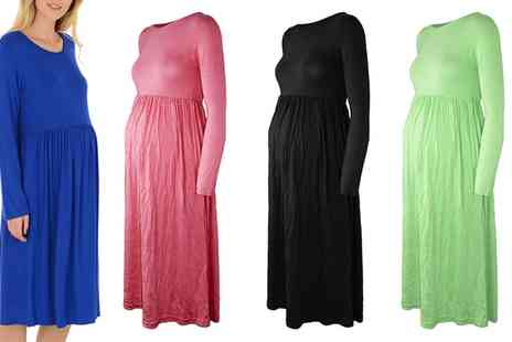 Groupon Goods Global GmbH - Flared Maternity Midi Skater Dress - Save 63%
