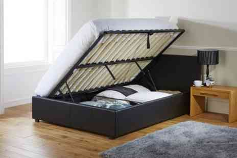 Groupon Goods Global GmbH - Ottoman Bed Frame with Memory or Bonnell Mattress With Free Delivery - Save 48%