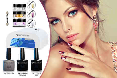 14 Day Manicure - Magic mirror nail powder kit with one colour and three mirror powders - Save 79%