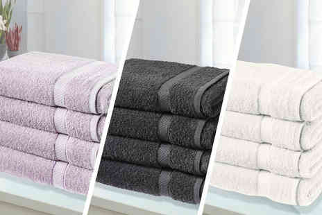 Groundlevel.co.uk - Four super soft Egyptian cotton bath sheets choose from six colours - Save 81%