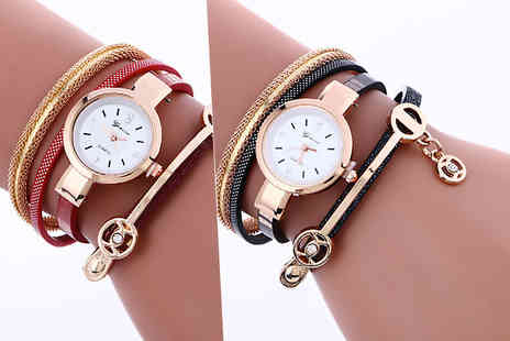 Solo Act - Snake strap wrap crystal watch choose from four colours - Save 85%