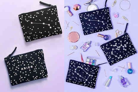 Alphabet Bags - Embroidered double sided zodiac pouch choose your star sign design - Save 20%