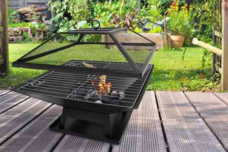 ViVo Technologies - Square fire pit with BBQ grill - Save 67%