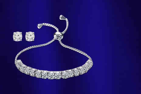 Fakurma - Adjustable cubic zirconia tennis bracelet and matching stud earrings - Save 88%