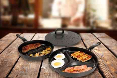 Groupon Goods Global GmbH - One or Two Non Stick Divider Frying Pan Sets - Save 70%