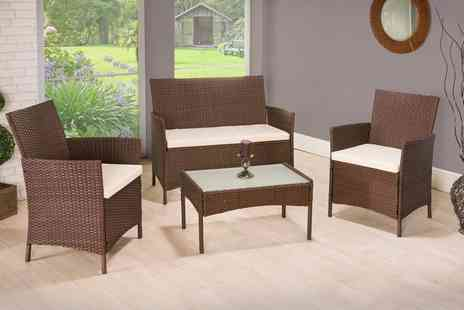 Groupon Goods Global GmbH - Four Piece PE Rattan Garden Furniture Set With Free Delivery - Save 80%