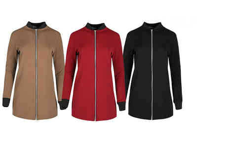 Bejealous - Longline ladies bomber jacket choose from black, mocha and wine - Save 59%