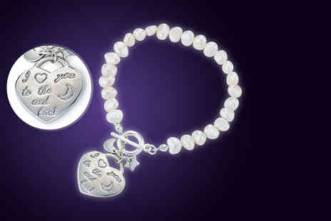 Pearl Shed -  Freshwater pearl I love you to the moon and back bracelet - Save 82%