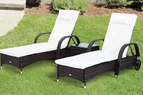 Groupon Goods Global GmbH - Three Piece Rattan Furniture Set in Choice of Colour With Free Delivery - Save 56%