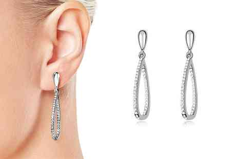 Groupon Goods Global GmbH - Teardrop Hoop Earrings with Crystals from Swarovski - Save 78%