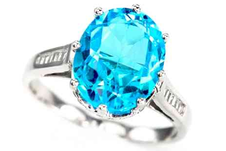 Groupon Goods Global GmbH - Blue Topaz and CZ Ring - Save 88%