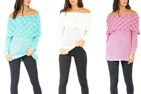 Groupon Goods Global GmbH - Textured Frill Off the Shoulder Tunic Jumper - Save 50%