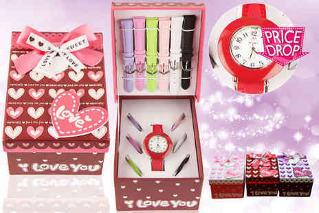 Essence Fashion - Girls' watch with changeable straps in a variety of colours - Save 67%