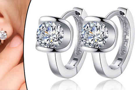 Jewleo - Silver Coloured Cubic Zirconia Hoop Stud Earrings - Save 83%